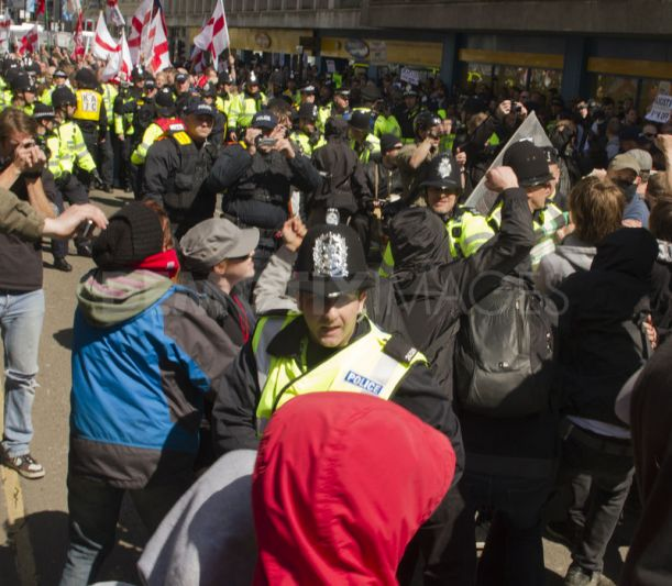 Anti-fascists block the racists' route in 2012
