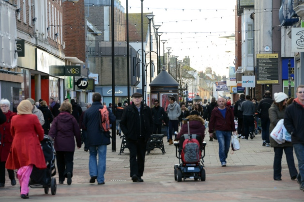 Shoppers in Montague Street, Worthing