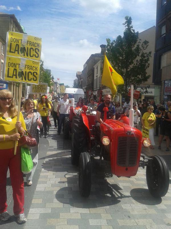 A tractor joins the celebrations in Preston