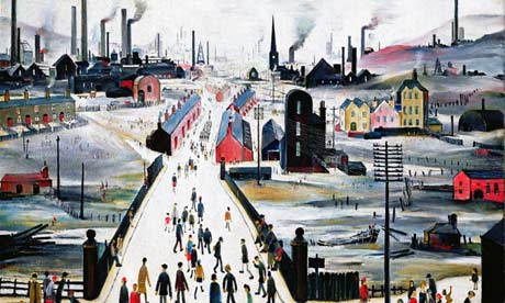 A detail from LS Lowry's The Canal Bridge (1949)