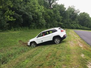 This car ended up in a ditch after its brakes were remotely disabled