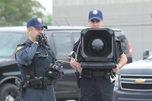 June 3, 2010 Police demonstrate the Long Range Acoustic Device (LRAD). The Integrated Security Unit for the G20 held a technical briefing at the Toronto Police College. The technical briefing is designed to feature specialized units from the Toronto Police Service, Peel Regional Police, the OPP, the RCMP and the Canadian Forces that will be utilized during the G20. It will provide an opportunity for the media to become familiar with what they will see on the streets of Toronto during the summit from a law enforcement and security perspective. Units on display include Police Dog Services, Mounted Unit, Marine Unit, Public Safety Unit, Traffic Services, Video Services, Emergency Task Force and Tactical Emergency Services from both Toronto EMS and Toronto Fire Services. (Carlos Osorio/Toronto Star)