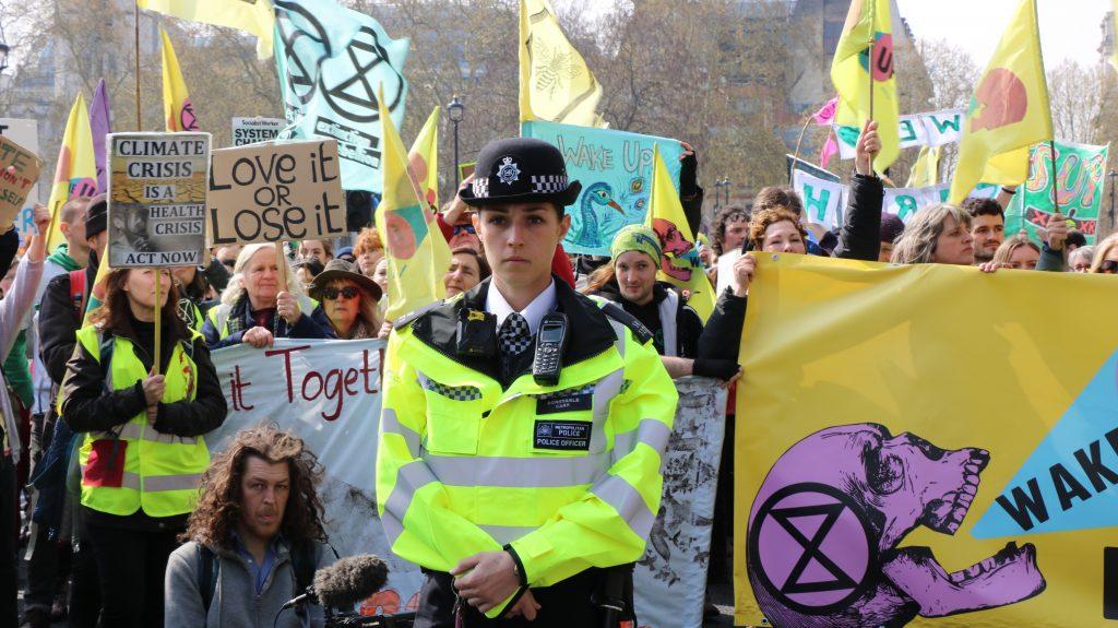 xr protest policewoman