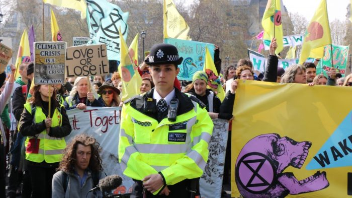 xr protest policewoman