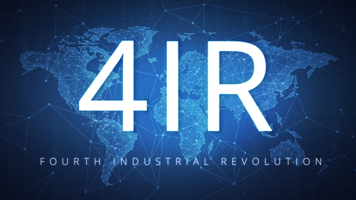 4IR Fourth industrial revolution on blockchain polygon world map